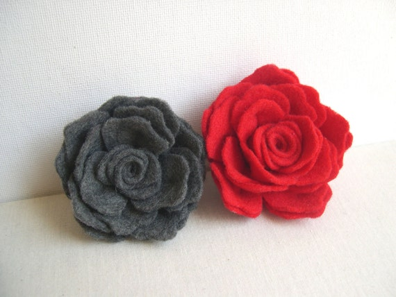 RESERVED FOR KATRIEN Grey or Red Rose Flower Pin - Delicate Felted Rose Hairpin - Mothers day rose gift - Bridesmaid Hairstyle