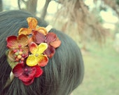 copper yellow and burgundy flower headband for women and teens: kim