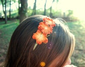 orange and moss green flower headband for adults and teens: imogene