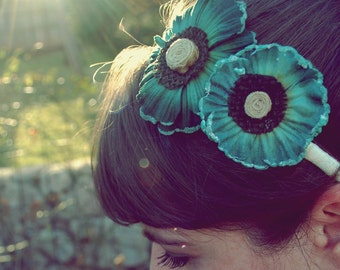 TWO MORE! dark teal flower headband for women and teens: shannon