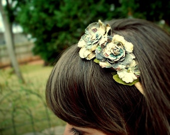 olive, gray, and turquoise flower headband for women and girls: margo