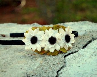 cream sunflower flower headband for bridal, women, adult: melinda