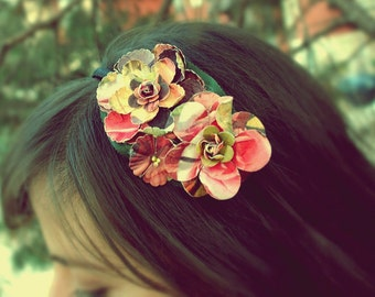 ONLY A FEW LEFT!!! clearance yellow, green, and pink flower headband for women, teen and adult: cecille