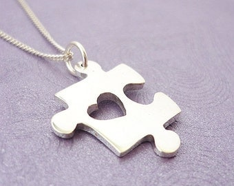 Puzzle Heart Handmade Sterling Silver Pendant