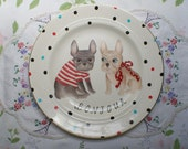 Bonjour Wilfred the French Bulldog and His Girlfriend Large Vintage Illustrated Plate