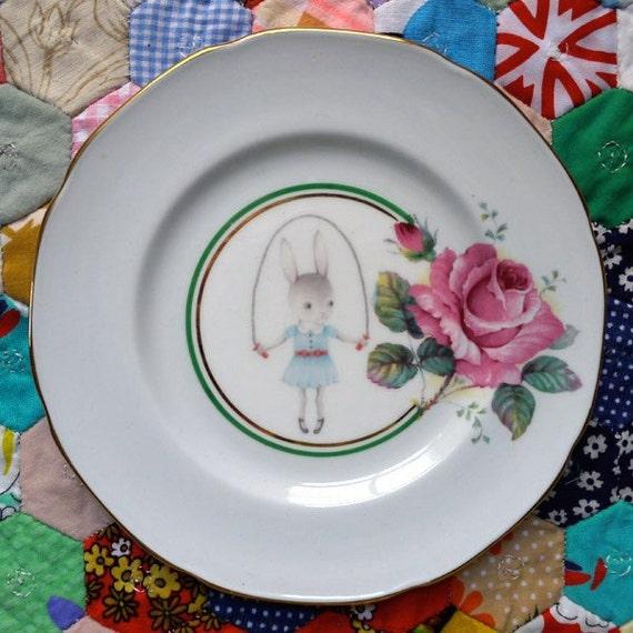 Skipping Bunny Loves Rosettes Vintage Illustrated Plate