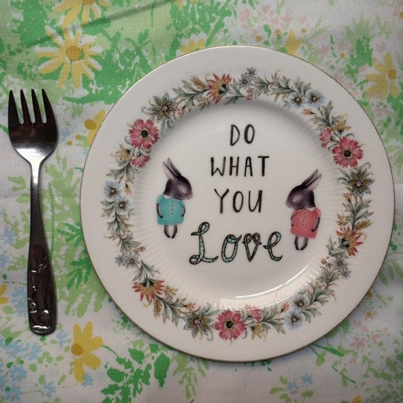 Do What You Love Shy Bunnies Vintage Illustrated Plate