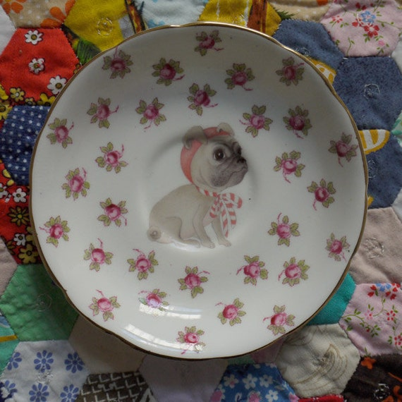 Baby Pug in the Roses Vintage Illustrated Plate