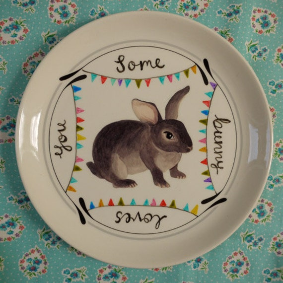 Some Bunny Loves You Juno Bunny Vintage Illustrated Plate