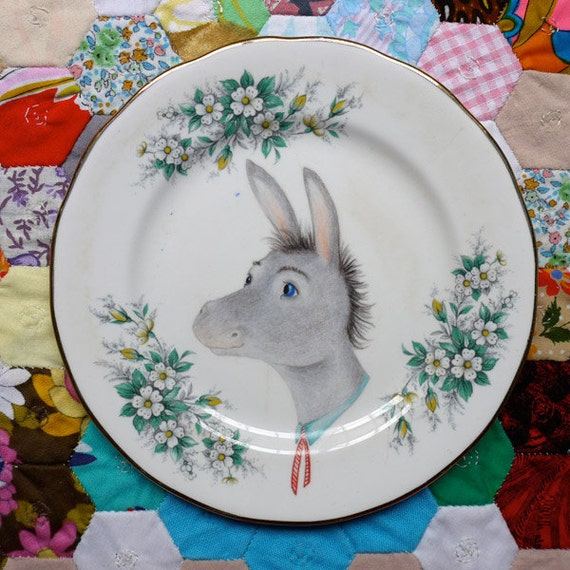 Mr Donkey Cameo on Mint Floral Vintage Illustrated Plate