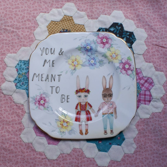 You and Me Meant To Be Spring Bunnies Vintage Illustrated Plate