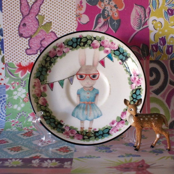 Nerdy Bunny with Bunting and Floral Edge Vintage Illustrated Plate