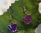 Little Purple Cat Enamel Charm Earrings - school spirit earrings - mascot earrings - teen jewelry