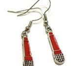 Red and Black Microphone Enamel Charm Earrings