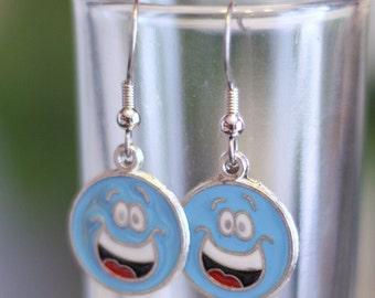 Light Blue Smiley Face Earrings - Enamel Charm Earrings - Dangle Earrings for all ages - Womens Jewelry - Kid Earrings - Happy Face Earrings