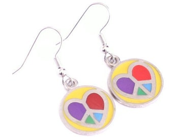 Yellow Circle with Peace Sign Heart Enamel Charm Earrings