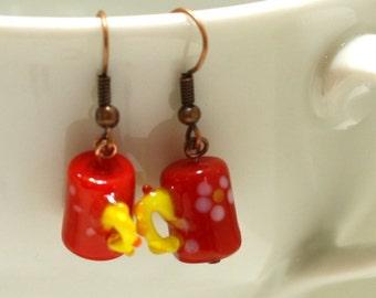 Red and Yellow Coffee Mug with flowers Glass Lampwork Bead Earrings - Women's Coffee Shop Jewelry