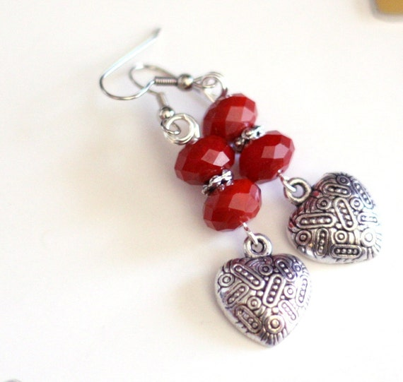 Heart Charm Earrings with Red Crystal Bead