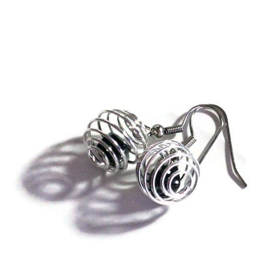 Black Dice in Silver Cages Earrings