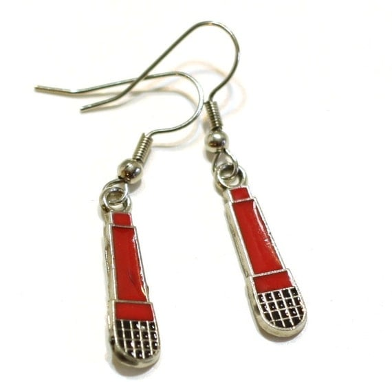 Red and Black Microphone Enamel Charm Earrings