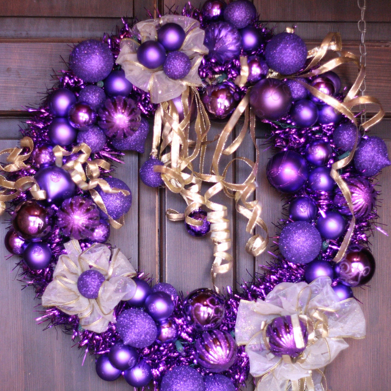 purple and gold christmas wreath with white lights holiday. Black Bedroom Furniture Sets. Home Design Ideas