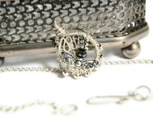 Vintage Inspired Necklace Silver Butterfly and Black AB Swarovski Crystal