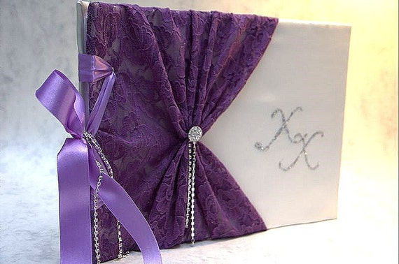Wedding Guest Book - Purple, Romantic, Elegant Weddings