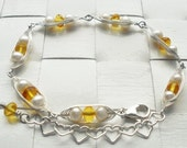 Natural Baltic amber, fresh water pearls and silver sterling bracelet
