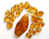 24x12x4mm - Beads & pendant from natural Baltic amber (1 pendant and 20 beads)