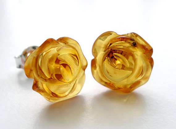 Natural Baltic amber rose post earrings - honey amber and silver sterling