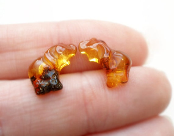Natural Baltic amber elephant post earrings - honey amber and silver sterling