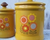 Retro 1970s harvest gold, flowered tin canister set made by Westbend, made in USA on Etsy
