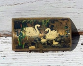 Vintage Victorian style enameled brass lipstick case, swans on a pond with cattails and lotus flowers, 1930s, 1940s