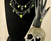 75% OFF!!  Inferi - Gumetal Chain and Green Skull Necklace Bracelet