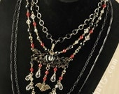 75% OFF!!! Batty for Butterbeer - Vintage Black Enamel Chain Vintage Crystals Necklace Bracelet