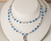RESERVE LISTING: Ravenclaw - Blue and Silver Glass Bead and Crystal Bird Charm Necklace Bracelet