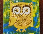 Olie in Orange- Mixed Media Magnet on Mini Canvas - RESERVED FOR DESSY B