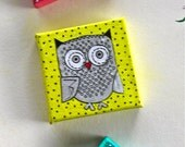 RESERVED for Melissa- Polka Dot Family Owls - Mini Mixed Media Canvas Magnets