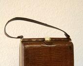 SALE Vintage Dark Brown vinyl faux crocodile hand bag