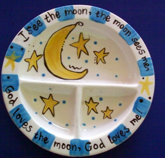 I See the Moon...Personalized Baby Plate