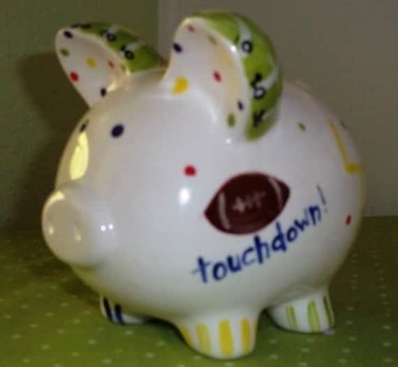 Hand-painted Football Piggy Bank