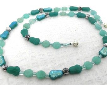 Teal Tulip and Disc Necklace