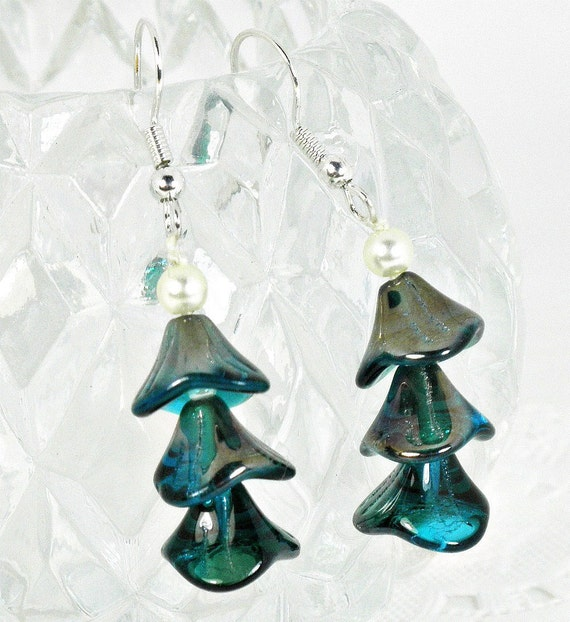 Iridescent Peacock Blue Glass & Ivory Pearl Earrings