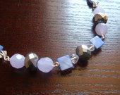 The Glam- Faceted Blue, Purple, and Silver, Sequins like Statement Necklace