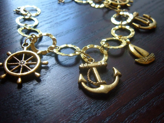 The South Pacific- Sale on Set- Nautical Anchors, Sails, and Wheels Bracelet and Earrings