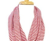 Nautical Red & White Stripe Jersey Hoop Scarf