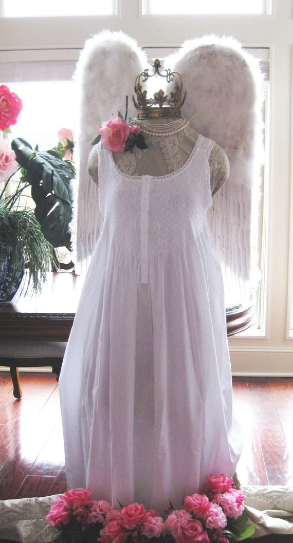 BILLOWY white smocked 100 % cotton GOWN XL nightgown pajamas
