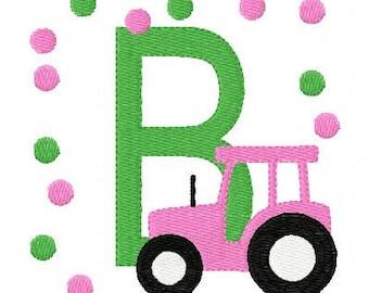 Pink Tractor Monogram Machine Embroidery Design Set // Joyful Stitches