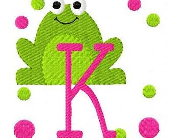 Frog Monogram Embroidery Font Design Set, Machine Embroidery Designs, Embroidery Font, Frog Embroidery Design // Joyful Stitches