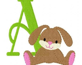 Floppy Bunny Machine Embroidery Monogram Design Set // Joyful Stitches